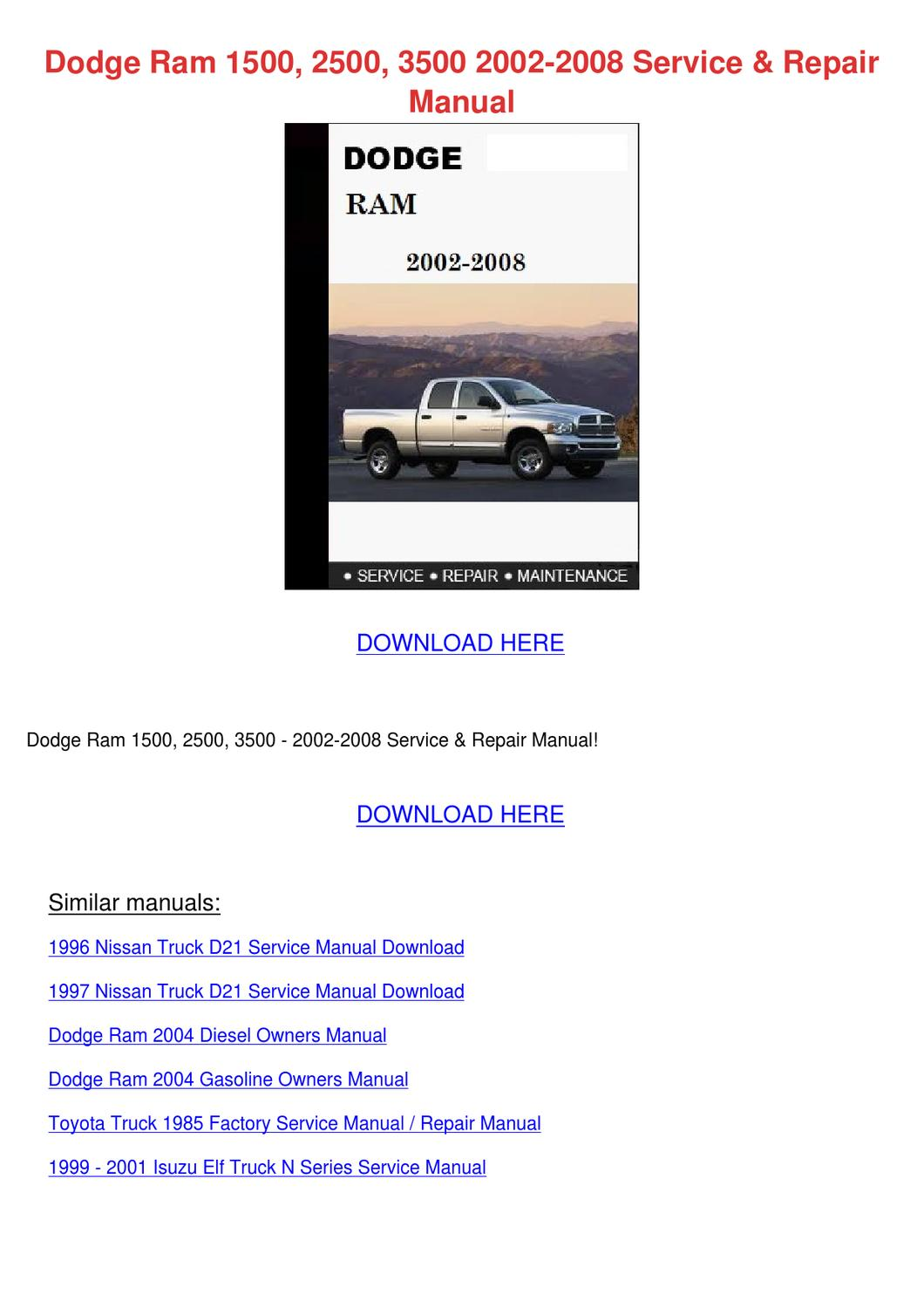 dodge ram 1500 2500 3500 2002 2008 service re by russell. Black Bedroom Furniture Sets. Home Design Ideas