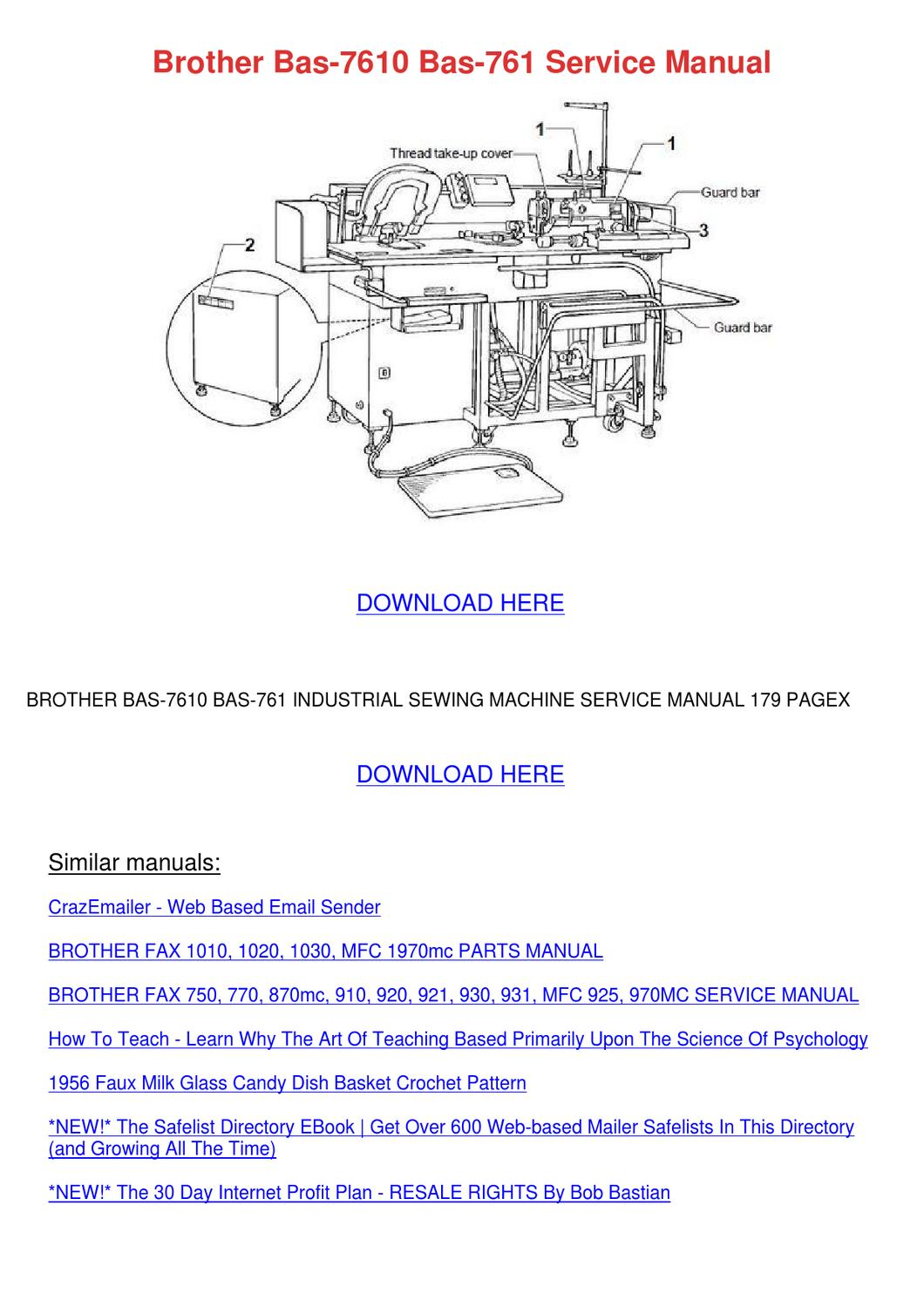 Brother bas 7610 bas 761 service manual by josefina hotalen issuu fandeluxe Images