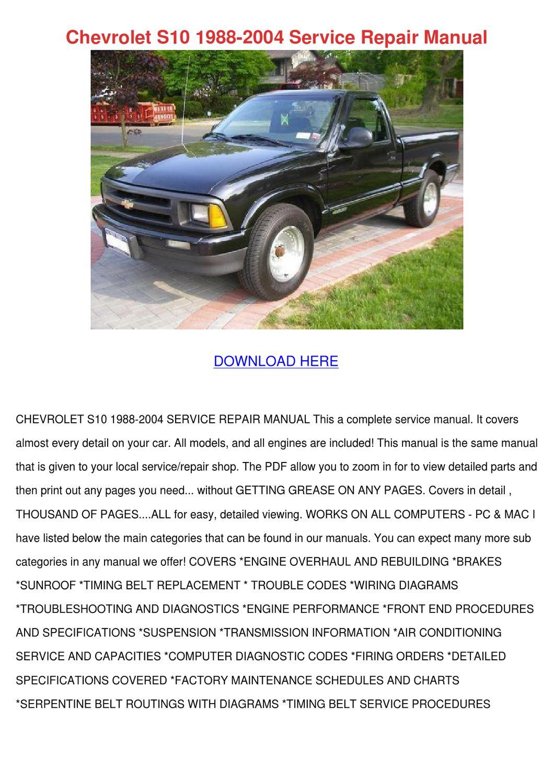Chevrolet S10 1988 2004 Service Repair Manual by Josefina Hotalen ...