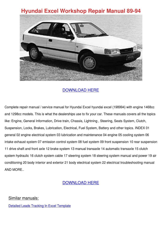 Manuals  98 Hyundai Excel Service Manual Full Version Hd