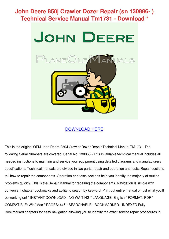 John Deere 850j Crawler Dozer Repair Sn 13088 by Lieselotte Mohlke - issuu