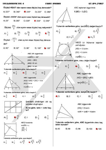 Trigonometri 1 Calisma Kagidi By Fuat Aydin Issuu
