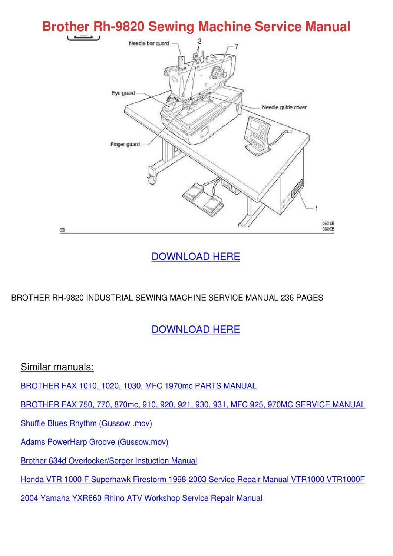 Brother Rh 9820 Sewing Machine Service Manual by Kathryne Maeda ...