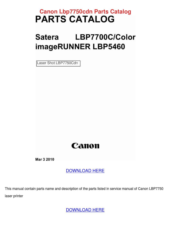 Canon Lbp7750cdn Parts Catalog by Kathryne Maeda - issuu