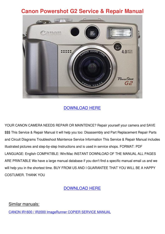 Canon Powershot G2 Service Repair Manual by Kathryne Maeda - issuu