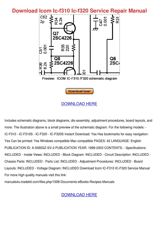 Download Icom Ic F310 Ic F320 Service Repair by Yu Kierce - issuu