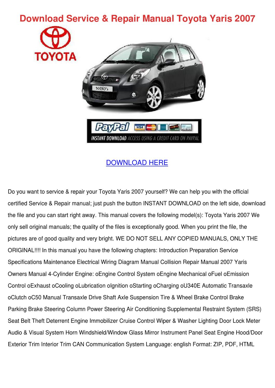 download service repair manual toyota yaris 2 by yu kierce  toyota car service & repair manuals