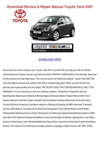 Download Service Repair Manual Toyota Yaris 2 by Yu Kierce - issuu