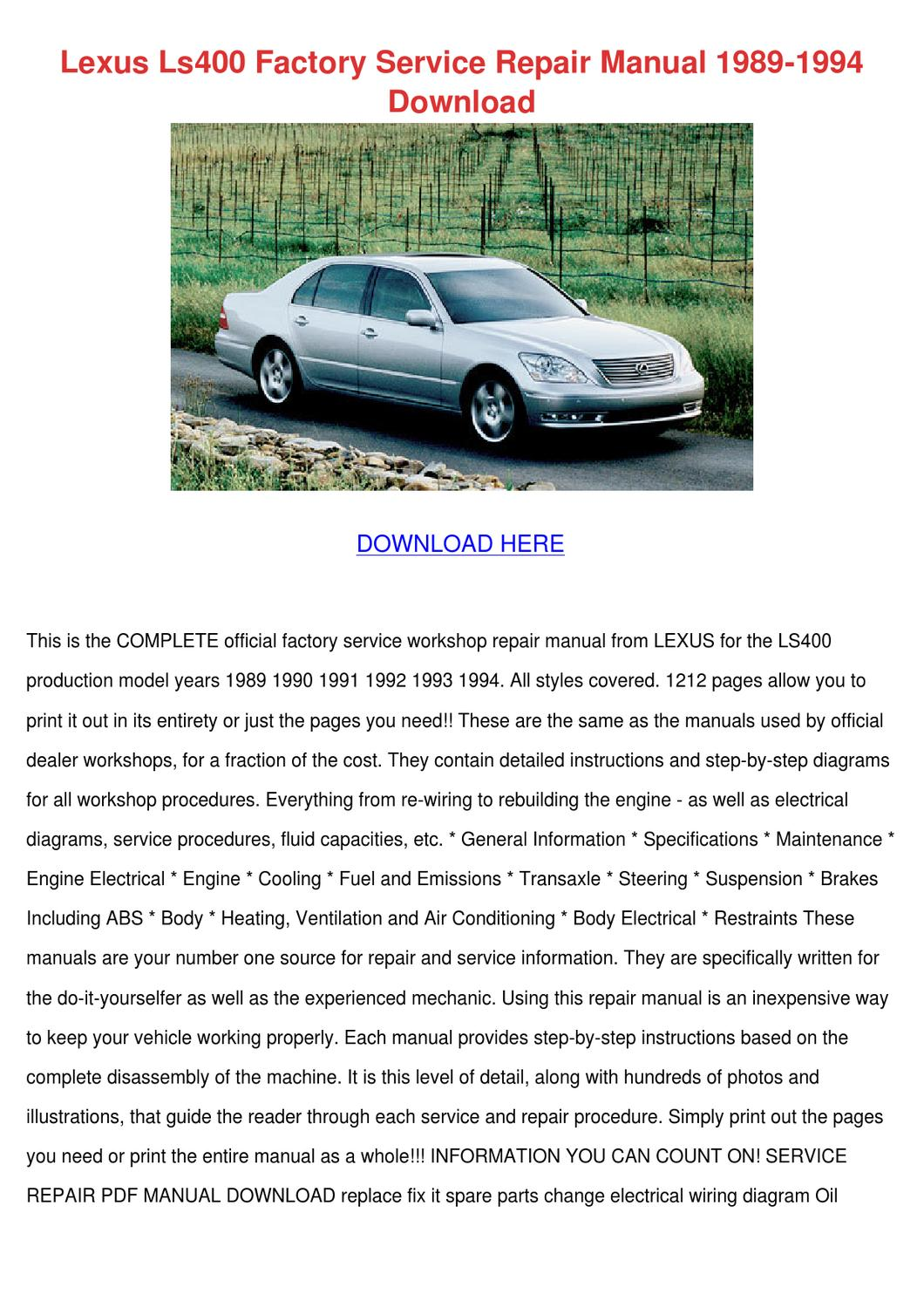 Lexus Ls400 Factory Service Repair Manual 198 By Noreen Meilleur Issuu Gs430 Electric Cooling Fan System Wiring Diagram