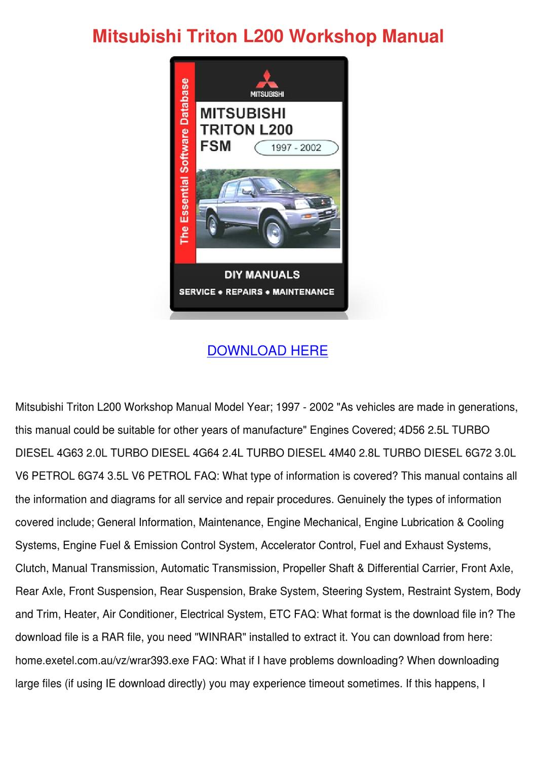 Mitsubishi Triton L200 Workshop Manual by Noreen Meilleur