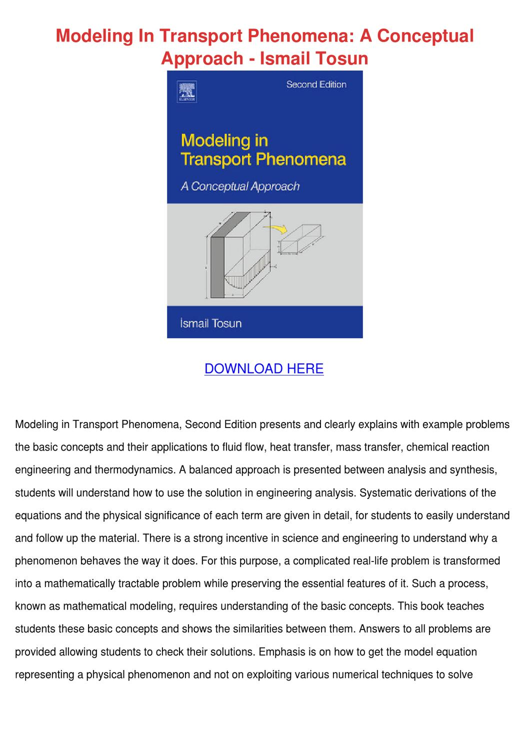 Modeling In Transport Phenomena A Conceptual by Noreen Meilleur ...