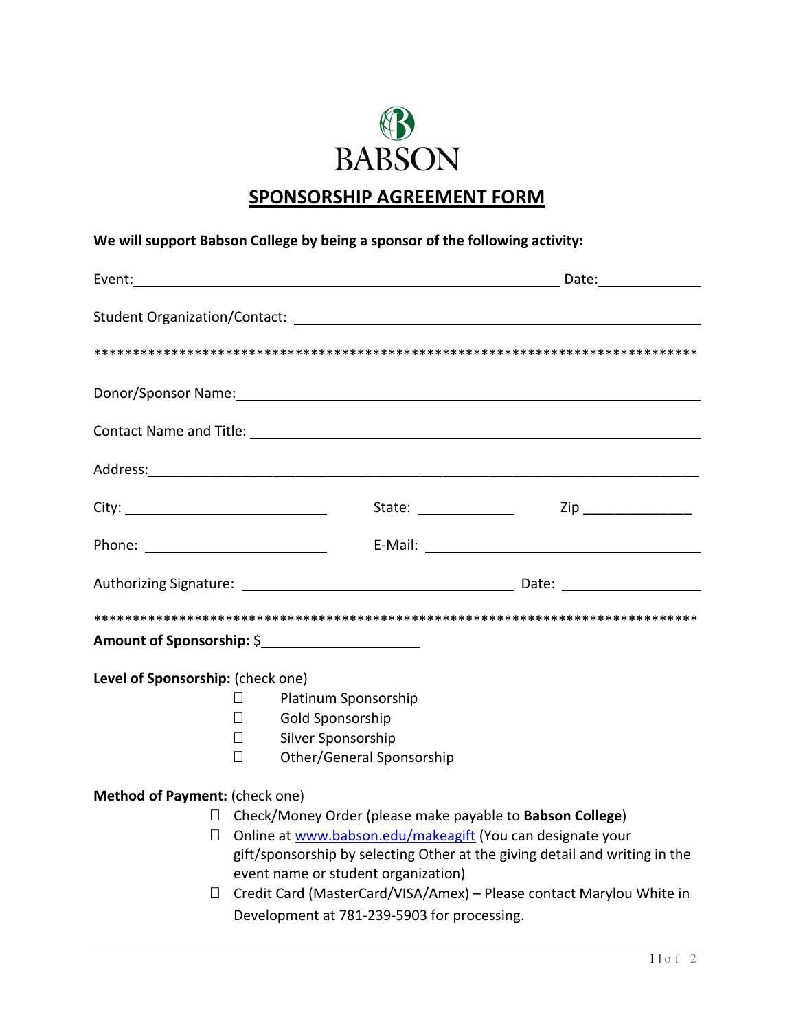 Basic Sponsorship Agreement Form by Chuck issuu – Sponsorship Agreement Form