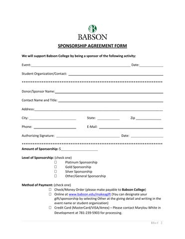 Basic Sponsorship Agreement Form By Chuck - Issuu
