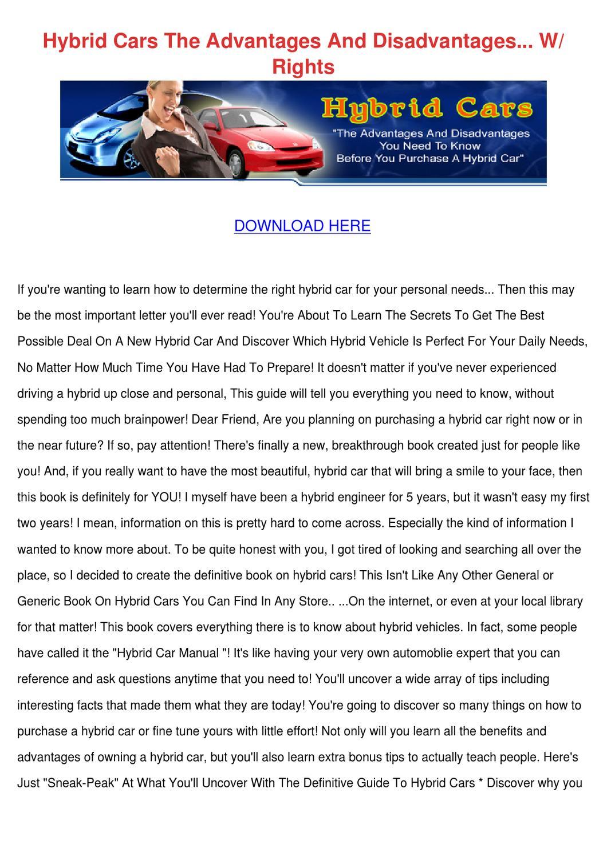 Hybrid Cars The Advantages And Disadvantages by Yu Kierce - issuu