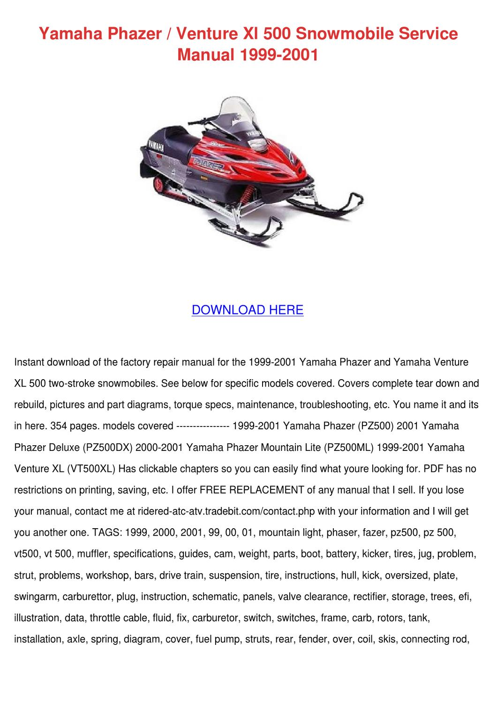 Improved Factory Yamaha Venture 480 Snowmobile Shop Manual