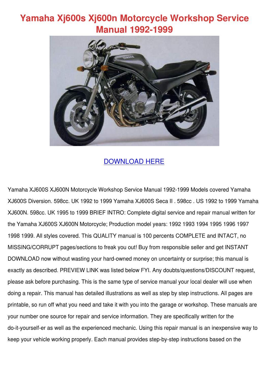 yamaha xj600s xj600n motorcycle workshop serv by meghan