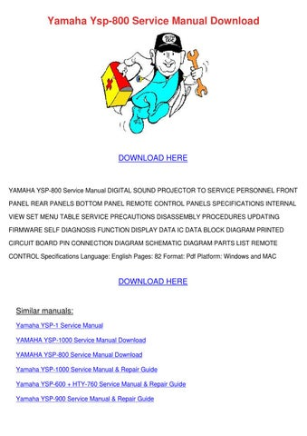 yamaha ysp 800 service manual download by meghan capehart issuu rh issuu com yamaha ysp-800 user manual yamaha ysp-800 user manual