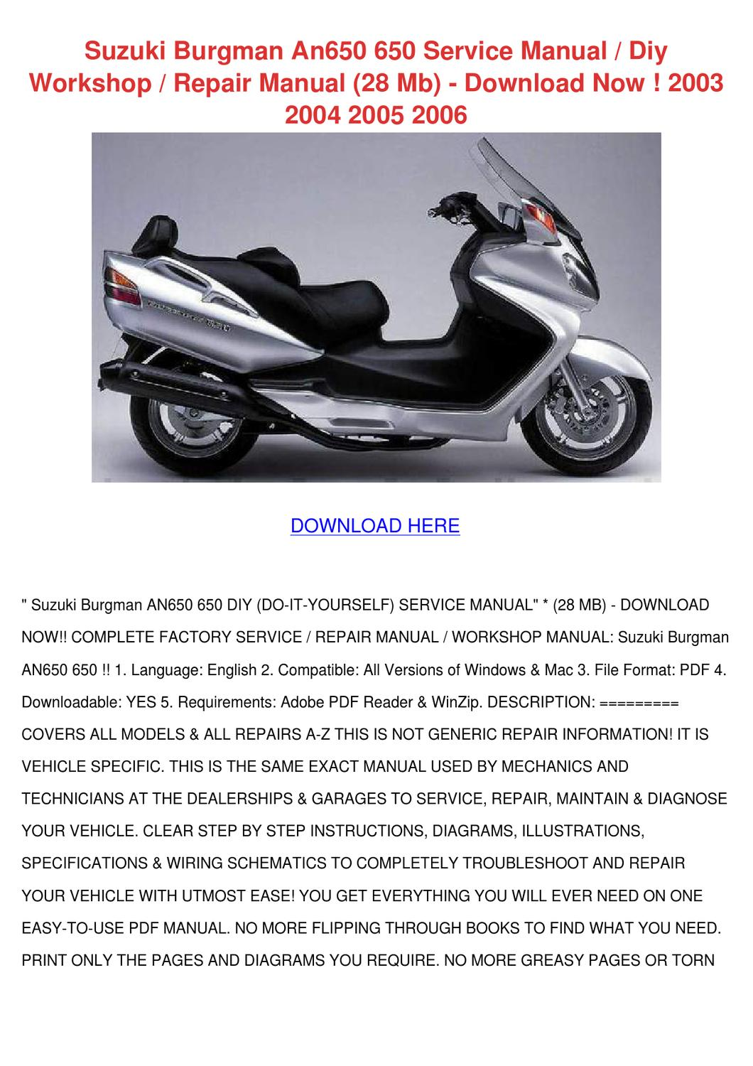 Suzuki Burgman An650 650 Service Manual Diy W By Roseline