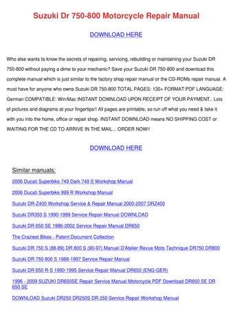 Suzuki Dr 750 800 Motorcycle Repair Manual by Roseline Locket - issuu