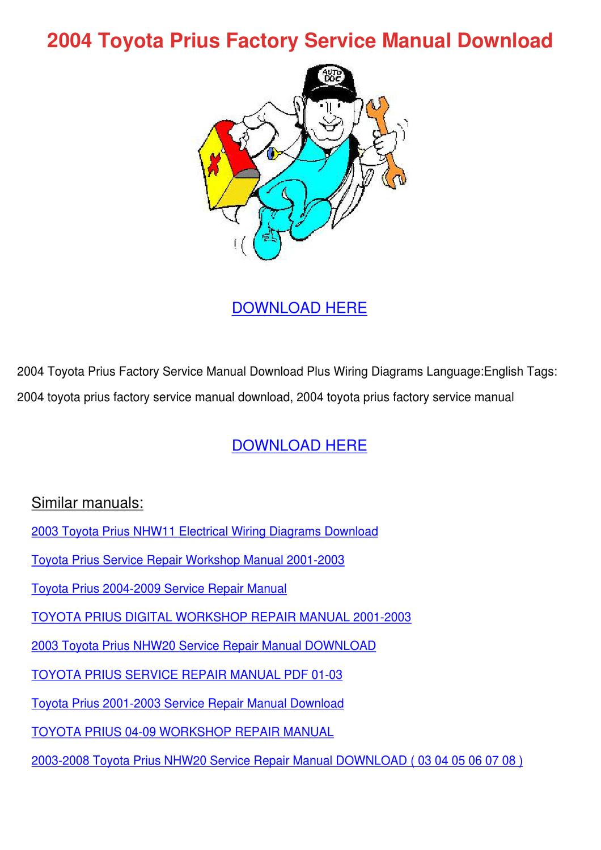 2004 Toyota Prius Factory Service Manual Down by Denna Gavaldon ...