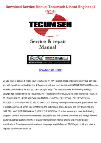 Download Service Manual Tecumseh L Head Engin By Rossie Erne Issuu