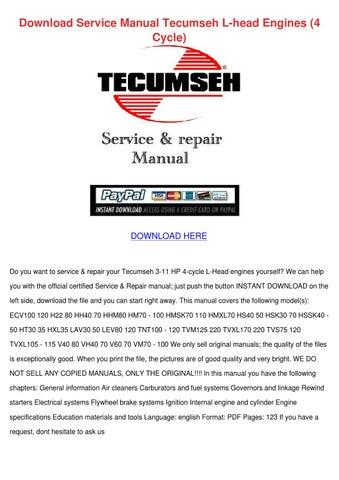 Download Service Manual Tecumseh L Head Engin by Rossie Erne - issuu