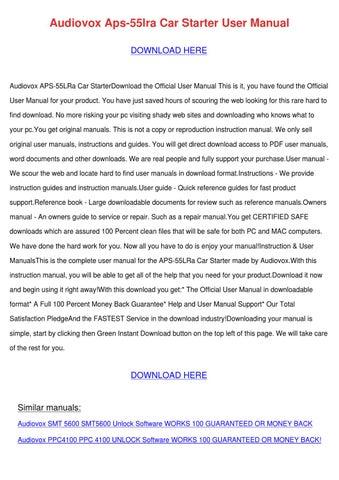audiovox aps 55lra car starter user manual by denna gavaldon issuu rh issuu com HTC Cell Phones HTC Apache XV6700