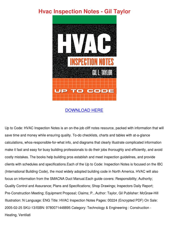 Hvac Inspection Notes Gil Taylor by Daniel Zari - issuu