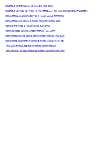 issuu renault megane scenic service manual basic instruction manual