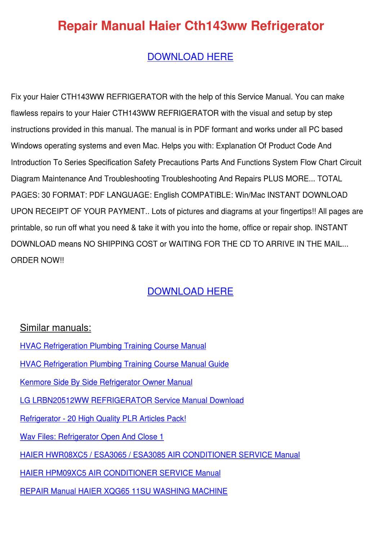 Repair Manual Haier Cth143ww Refrigerator by Soon Alaniz - issuu on