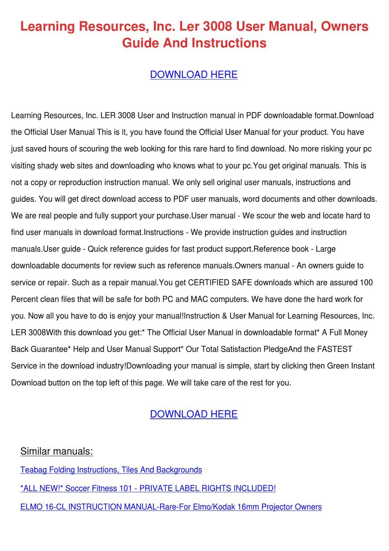 Learning Resources Inc Ler 3008 User Manual O by Daniel Zari - issuu