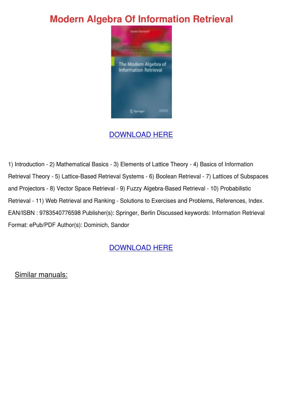 Modern Algebra pdf