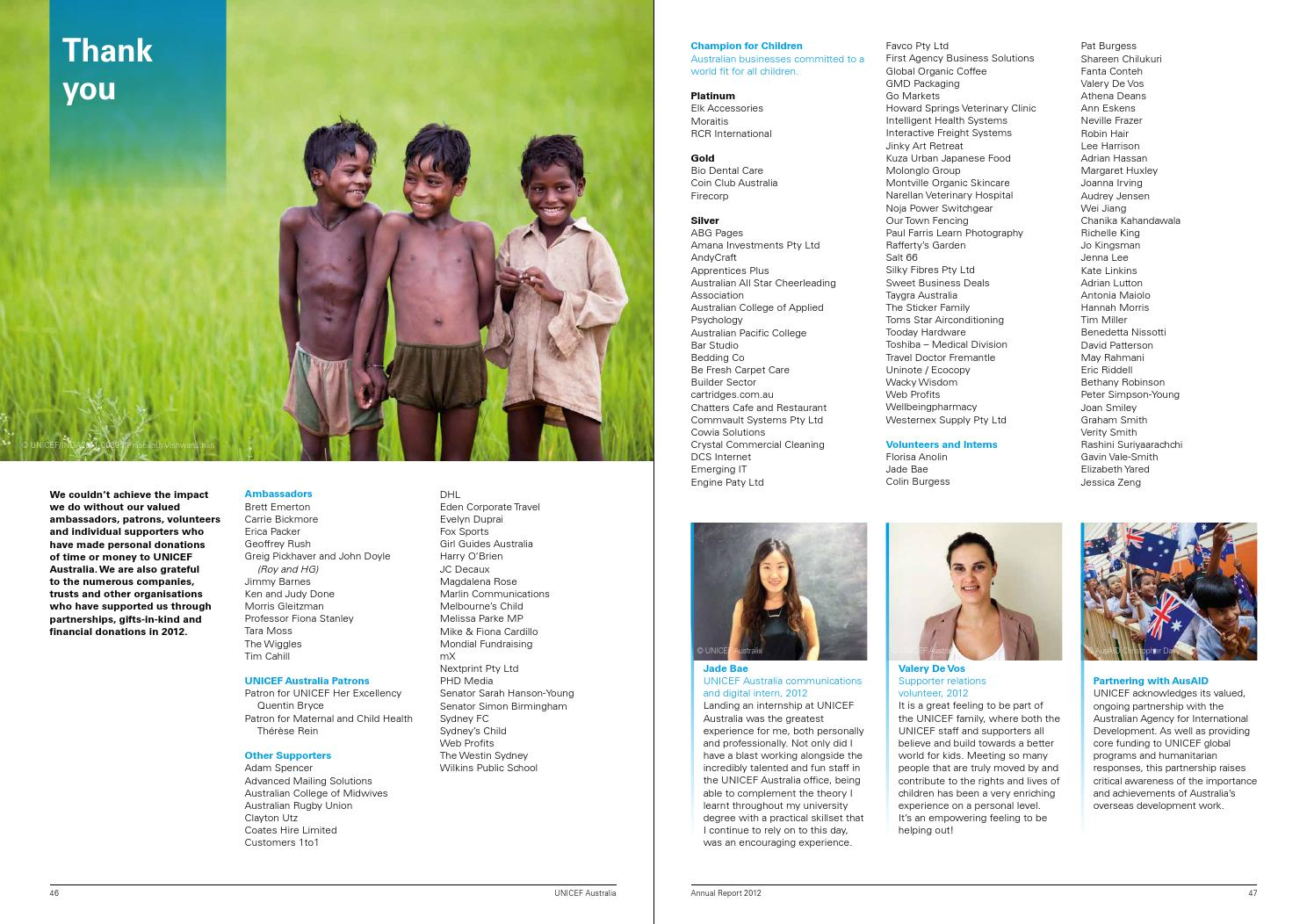 UNICEF Australia 2012 Annual Report by UNICEF Australia - issuu