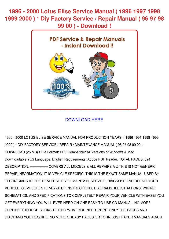 Service & Repair Manuals Model Year 1996-2001 Digital Download ...