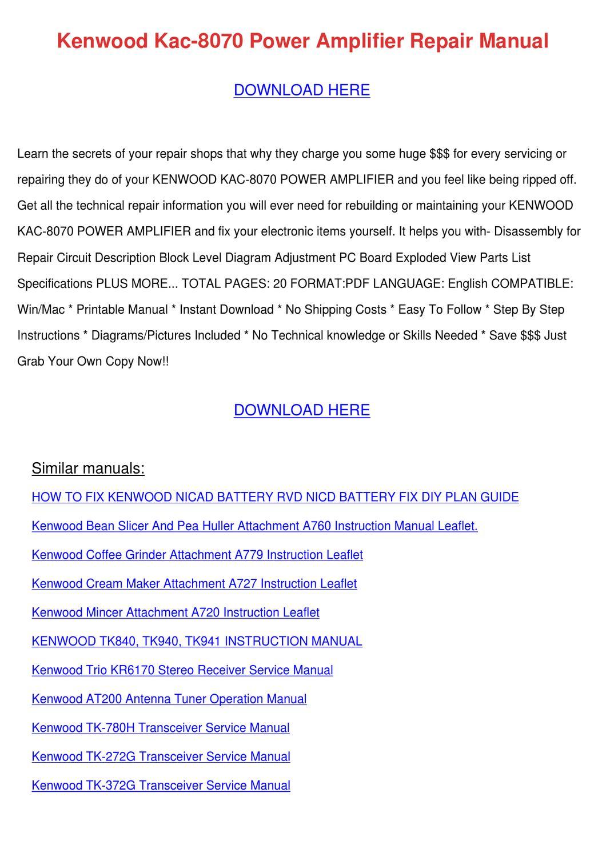 Kenwood Kac 8070 Power Amplifier Repair Manua by Kathryn Gressman - issuu