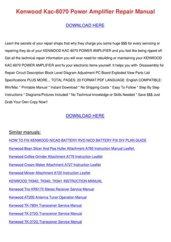 Kenwood Kac 8070 Power Amplifier Repair Manua by Kathryn Gressman ...