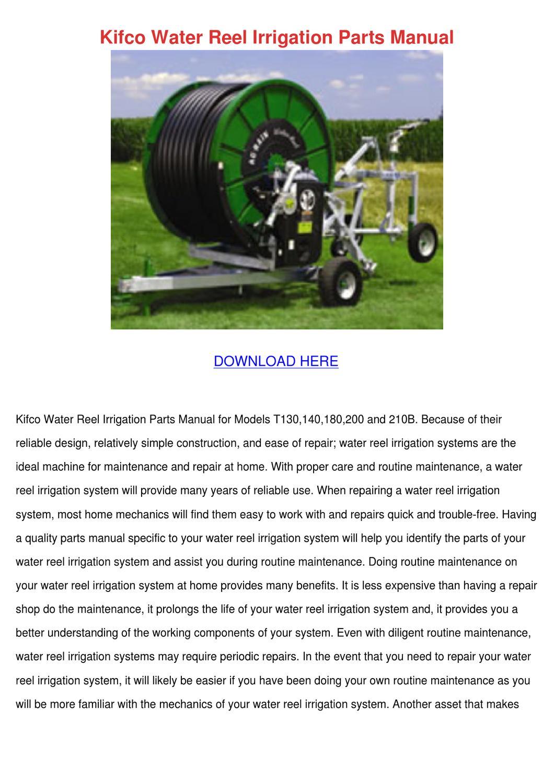 Kifco Water Reel Irrigation Parts Manual by Kathryn Gressman - issuu