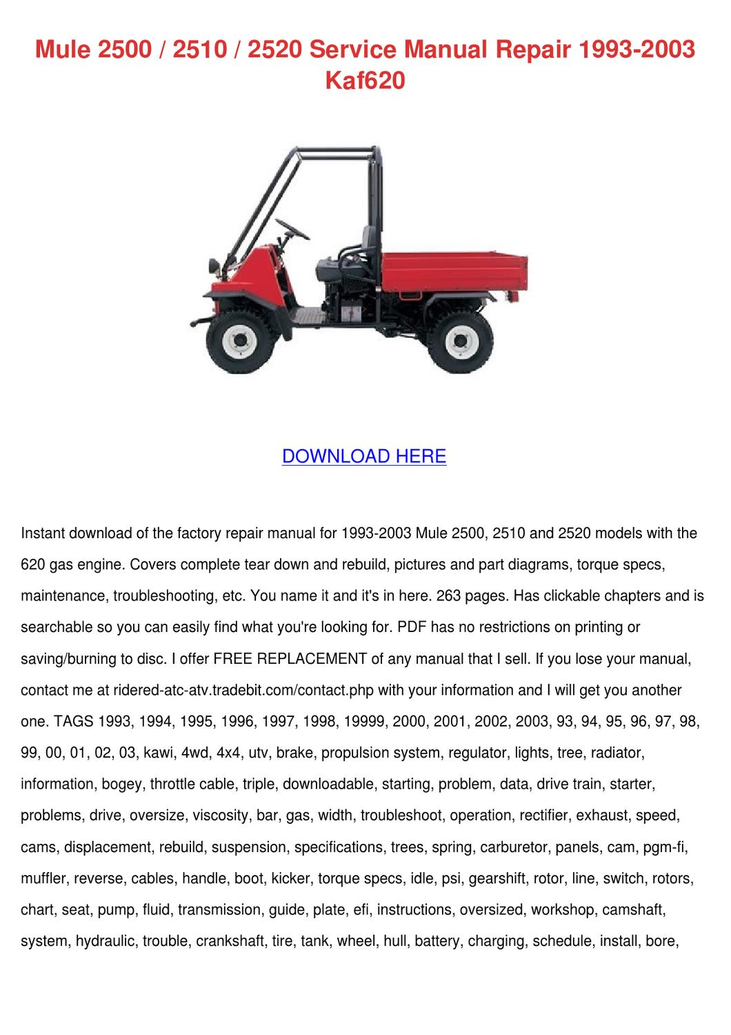 Mule 2500 2510 2520 Service Manual Repair 199 by Kathryn Gressman - issuu