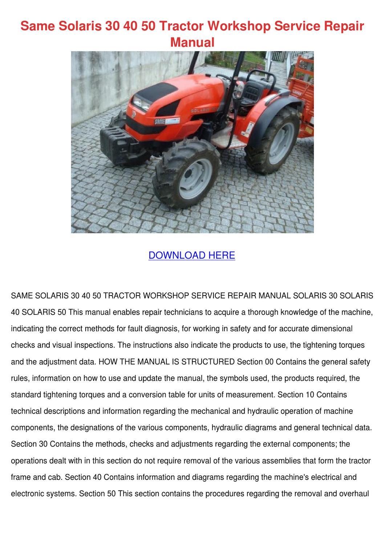 Same Solaris 30 40 50 Tractor Workshop Servic by Carlee Kraling ...