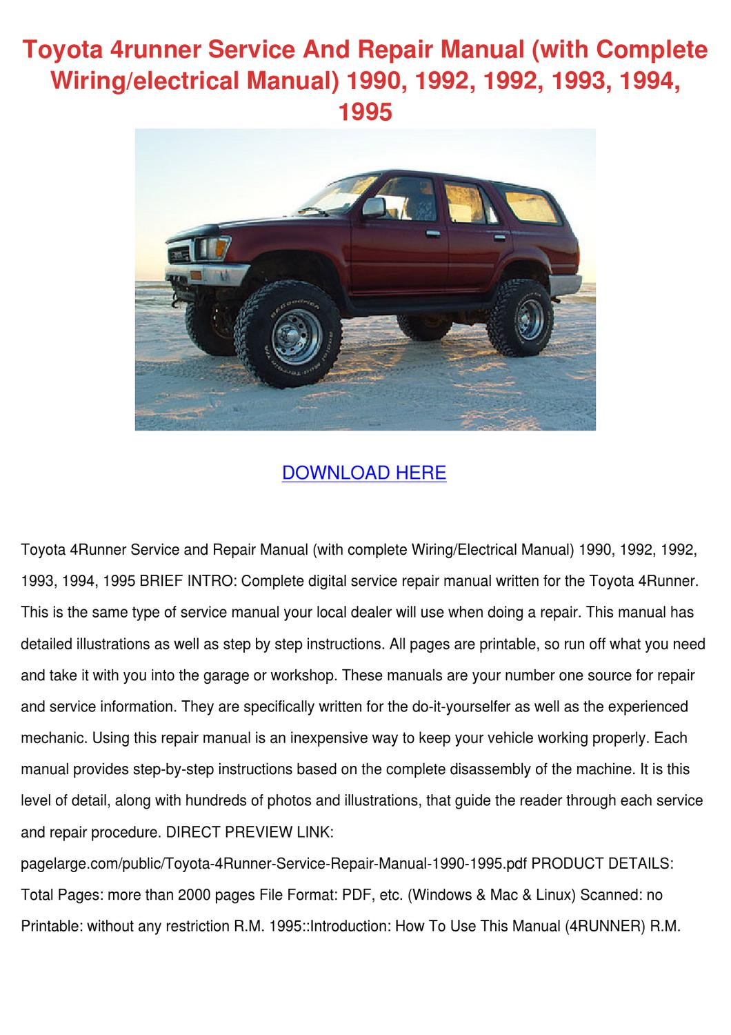 Toyota 4runner Service And Repair Manual With by Carlene Aggarwal ...