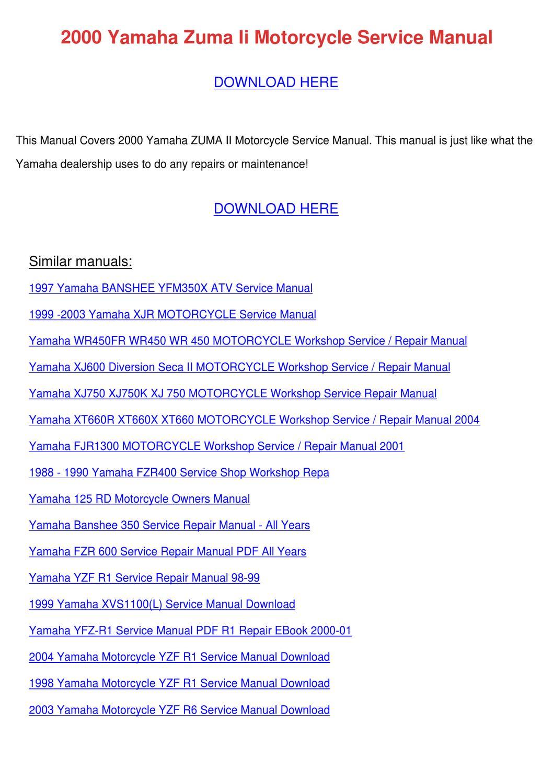 2000 yamaha zuma ii motorcycle service manual by leisa tontarski issuu 2004 yamaha zuma owners manual 1989 Yamaha Zuma