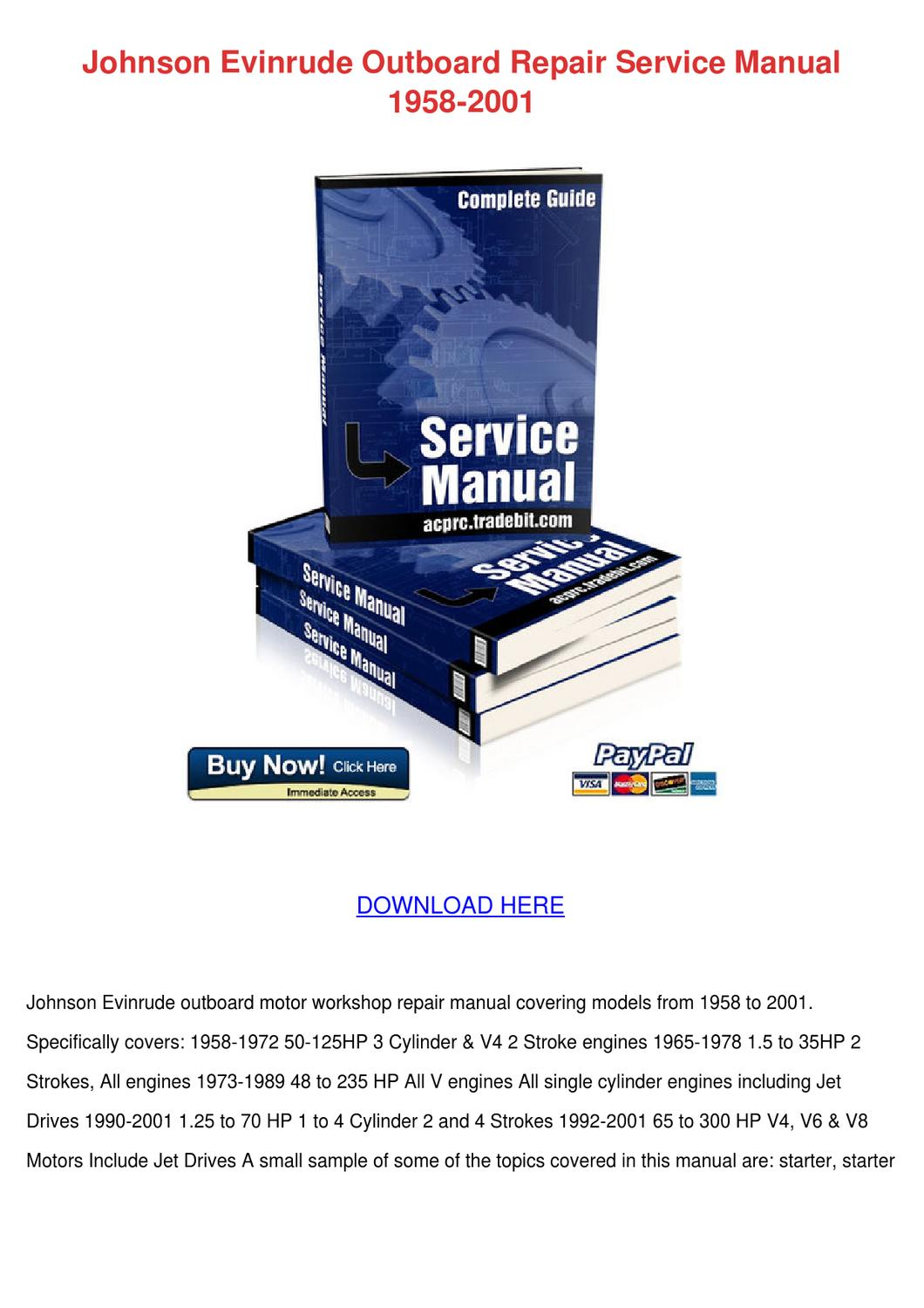 Johnson Evinrude Outboard Repair Service Manu by Sherika Blanchfield - issuu