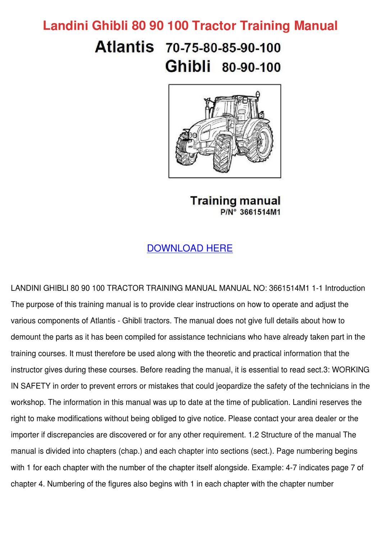 Landini Ghibli 80 90 100 Tractor Training Man by Sherika Blanchfield - issuu