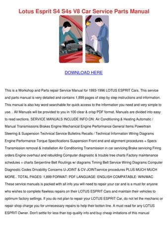 Lotus Esprit S4 S4s V8 Car Service Parts Manu by Sherika ...
