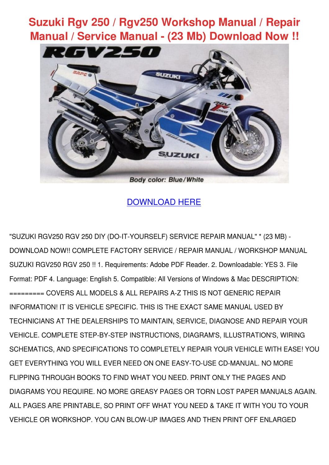 Suzuki rgv 250 rgv250 workshop manual repair by sherell tomala issuu fandeluxe Image collections