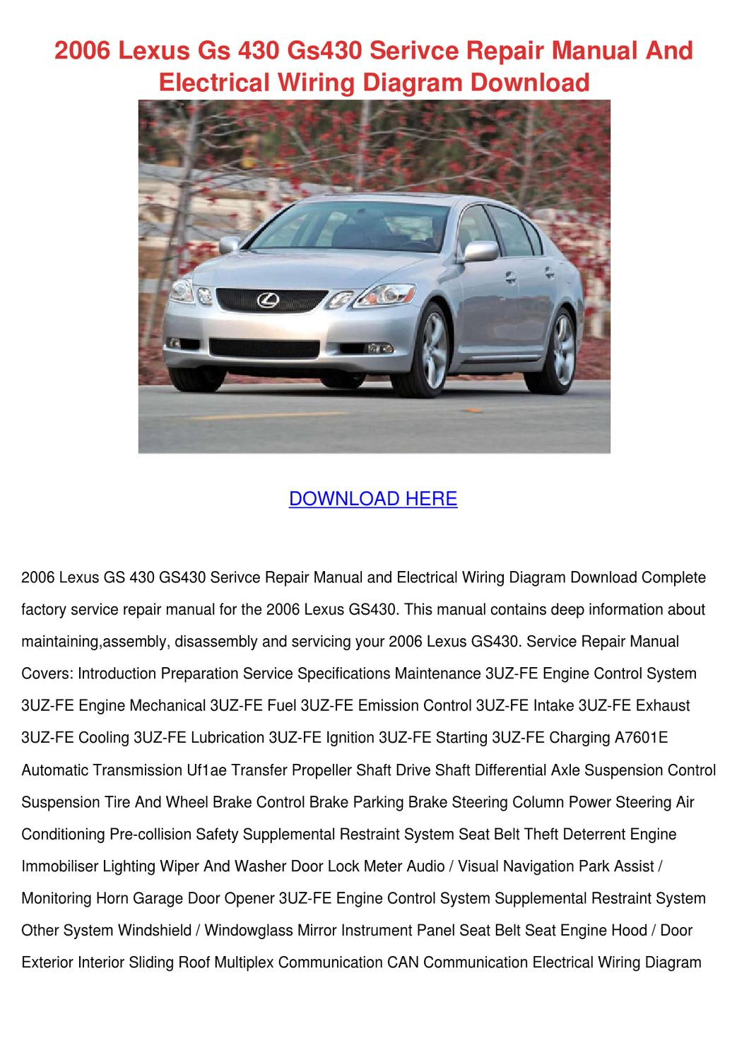 2006 lexus gs 430 gs430 serivce repair manual by trinh ... 2006 lexus gs430 wiring diagram #2