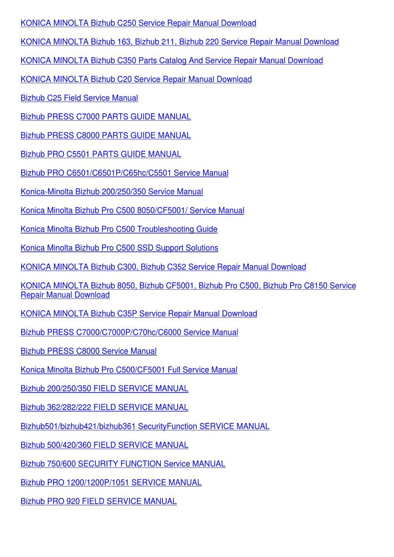 Bizhub 200250350 Field Service Manual By Trinh Bohmer Issuu border=
