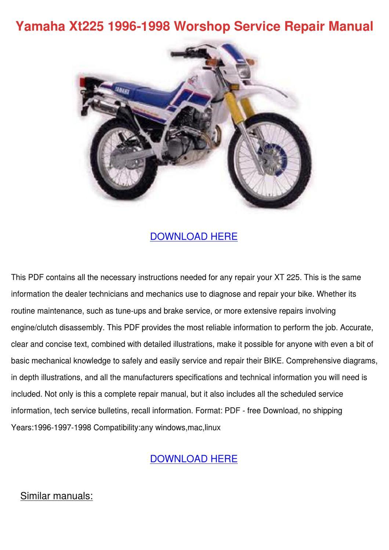 Yamaha Xt225 1996 1998 Worshop Service Repair by Dorla Walkenhorst - issuu