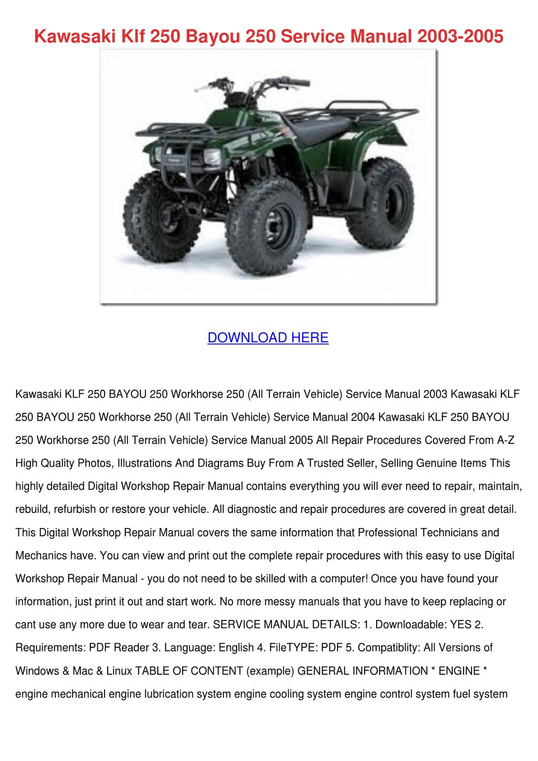 Kawasaki Klf 250 Bayou Service Manual 200 By Raven Ideue Issuu Klr Wiring Diagram Free Download