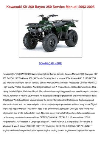 kawasaki klf 250 bayou 250 service manual 200 by raven ideue issuu rh issuu com Kawasaki Bayou 250 Parts Diagram Kawasaki Bayou 250 ATV